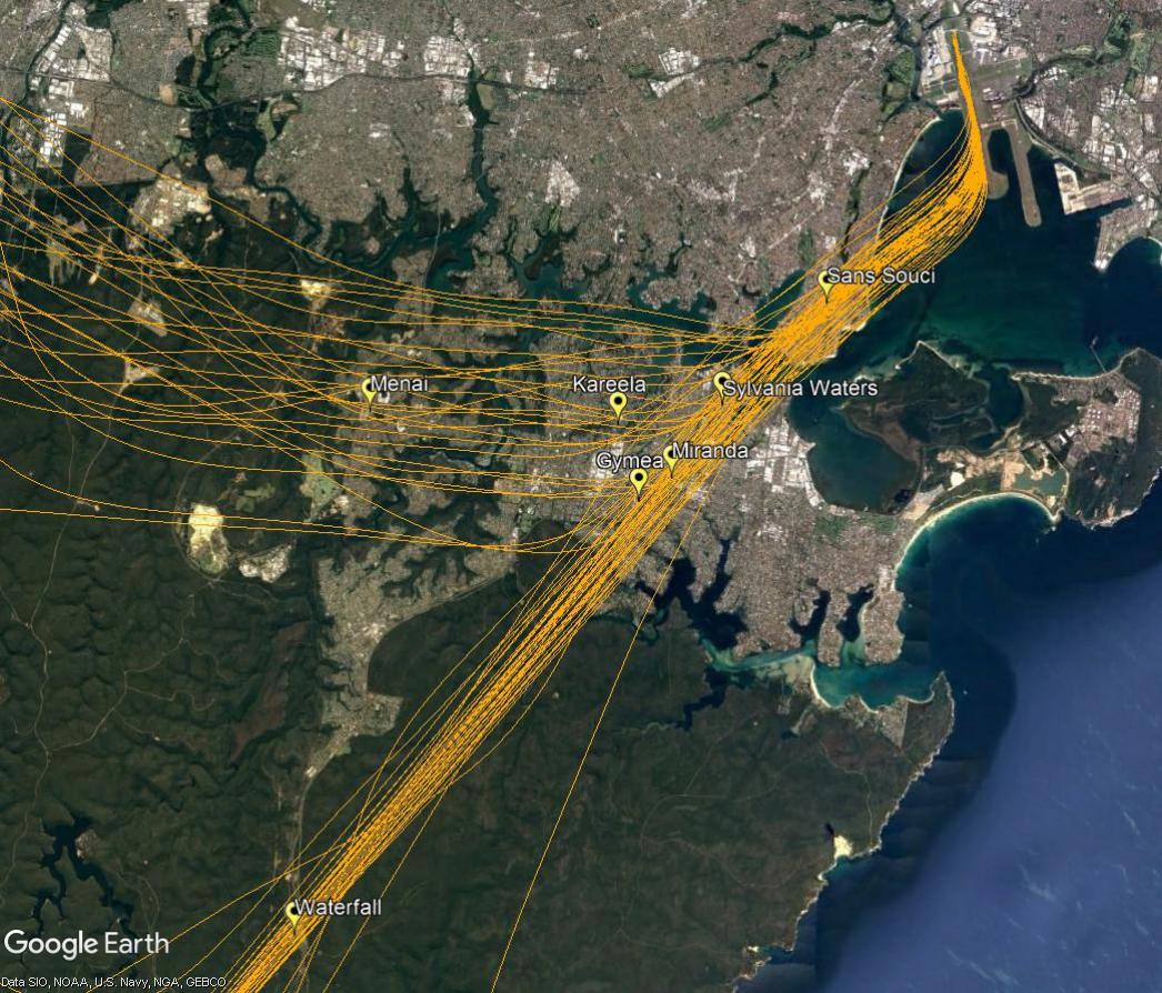 Non-jet flight path, south flow