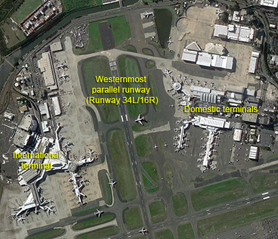Location of terminals at Sydney Airport